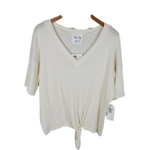 Sadie & Sage Off White Harper Knit Knot Top Small